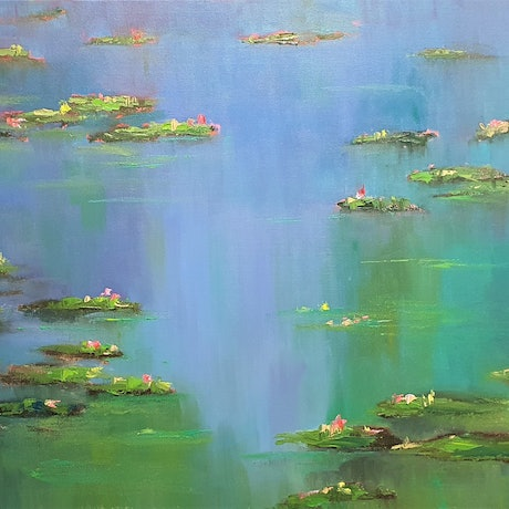 (CreativeWork) Monet's Reflections by Rod Moore. Oil Paint. Shop online at Bluethumb.