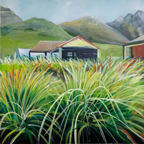 (CreativeWork) Green Grass in Glenorchy by Alison Pilcher. Acrylic Paint. Shop online at Bluethumb.