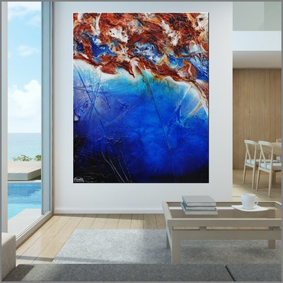 (CreativeWork) Oxide Coast 120cm x 150cm HUGE Blue Oxide Textured Acrylic Abstract Gloss Finish FRANKO  by _Franko _. Acrylic Paint. Shop online at Bluethumb.