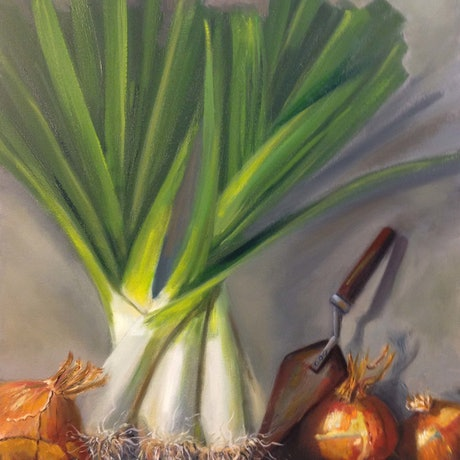 (CreativeWork) Fresh From The Garden by Elizabeth Varley. Oil Paint. Shop online at Bluethumb.