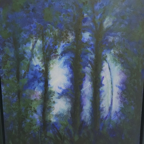 (CreativeWork) Tropical Forest by Julie Debray. Oil Paint. Shop online at Bluethumb.