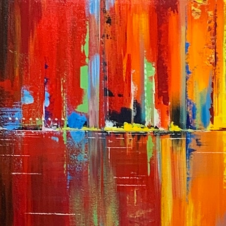 (CreativeWork) Cityscape 2 by Tom Roso. Acrylic Paint. Shop online at Bluethumb.