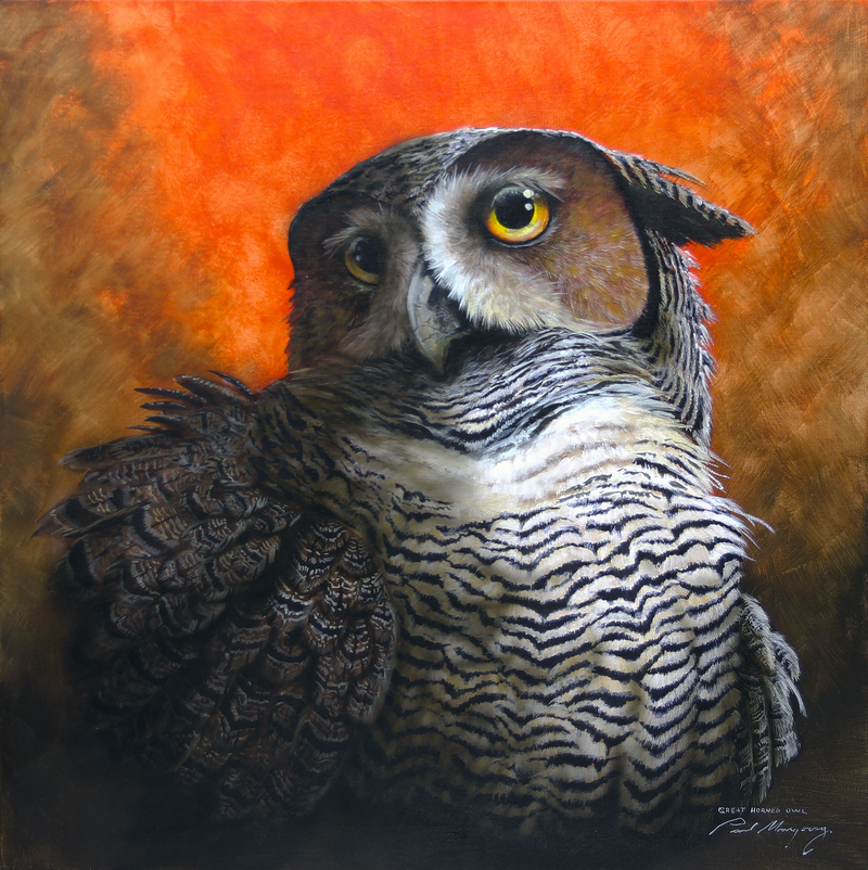 (CreativeWork) U.S. Great Horned Owl by Paul Margocsy. Mixed Media. Shop online at Bluethumb.