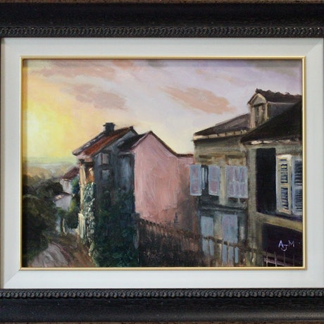 (CreativeWork) Last light in paris by Adam Mulcahy. Oil Paint. Shop online at Bluethumb.