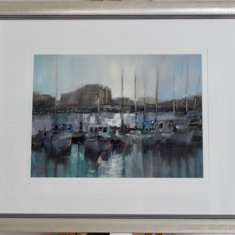 (CreativeWork) Boats at cockle bay by Adam Mulcahy. Oil Paint. Shop online at Bluethumb.