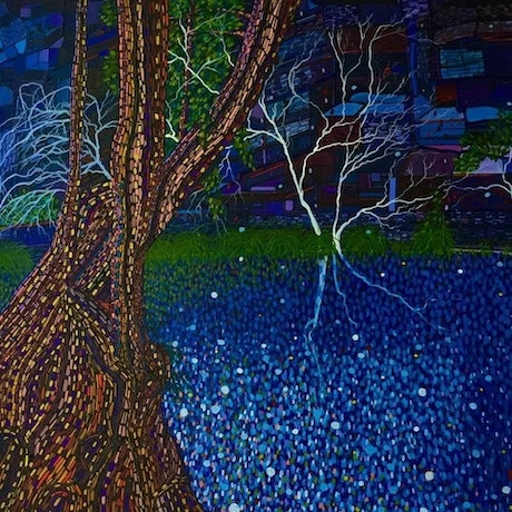 (CreativeWork) The Jewel of the Night,  Dales Gorge Karijini by Ericka Baker. Acrylic Paint. Shop online at Bluethumb.