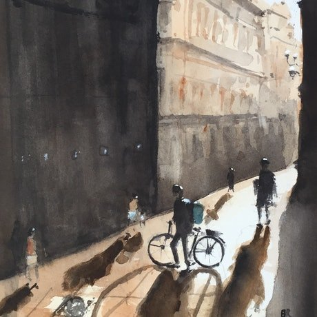 (CreativeWork) Cometh The Night by Bernd Rieve. Watercolour Paint. Shop online at Bluethumb.