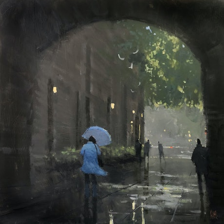 (CreativeWork) Sunshowers - Town Hall by Mike Barr. Acrylic Paint. Shop online at Bluethumb.