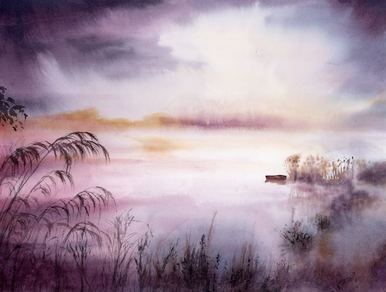 (CreativeWork) Misty Lake by Cecilia Xiao. Watercolour Paint. Shop online at Bluethumb.