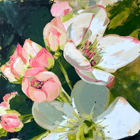 (CreativeWork) Golden Pear Blossoms by Amy Herman. Acrylic Paint. Shop online at Bluethumb.