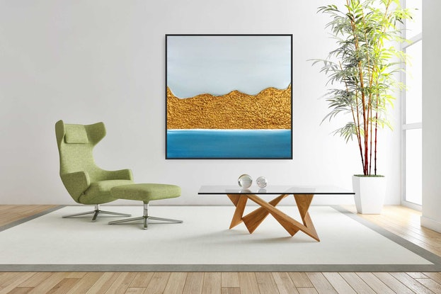 (CreativeWork) Blue Springs - Framed luxurious abstract seascape art by Josephine Ann Pitsiava. Mixed Media. Shop online at Bluethumb.