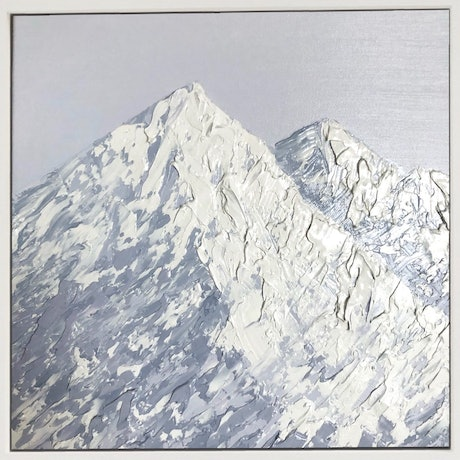(CreativeWork) Snowy Mountain by Ashley Bunting. Oil Paint. Shop online at Bluethumb.