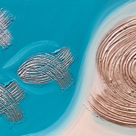 (CreativeWork) Fish and Shell Textured Art by Debra Ryan. Mixed Media. Shop online at Bluethumb.