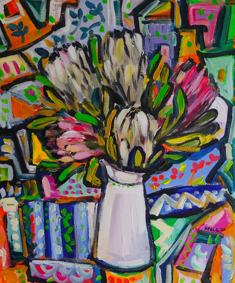 (CreativeWork) Still Life with Proteas and Patterns by Katerina Apale. Acrylic Paint. Shop online at Bluethumb.