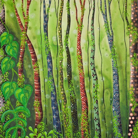 (CreativeWork) Into the Wild Lands by Ornella Imber. Acrylic Paint. Shop online at Bluethumb.