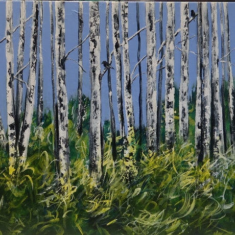 (CreativeWork) Amongst The Birch Trees by Maria Cross. Acrylic Paint. Shop online at Bluethumb.