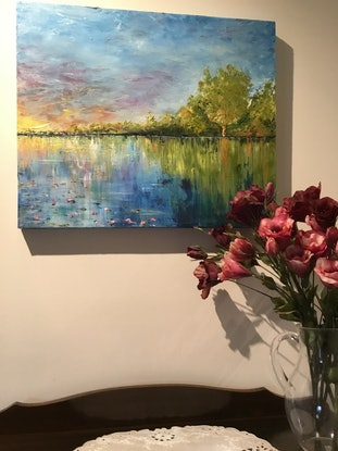 (CreativeWork) Morning Dawns by Leoni Hines. Oil Paint. Shop online at Bluethumb.