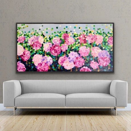(CreativeWork) Pink hydrangea blooms 183x92 framed large textured abstract flowers by Sophie Lawrence. Acrylic Paint. Shop online at Bluethumb.
