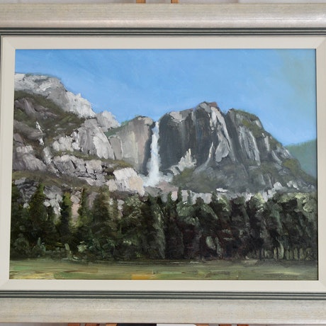 (CreativeWork) Yosemite Falls by Adam Mulcahy. Oil Paint. Shop online at Bluethumb.