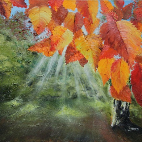 (CreativeWork) Autumn Breaks by Leoni Hines. Oil Paint. Shop online at Bluethumb.