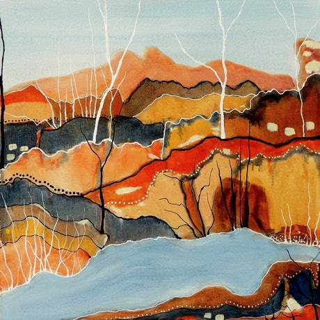 (CreativeWork) Desert Creek by Doodie Herman. Acrylic Paint. Shop online at Bluethumb.