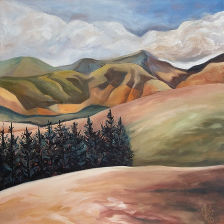(CreativeWork) Southern Hills by Kadira Jennings. Oil Paint. Shop online at Bluethumb.
