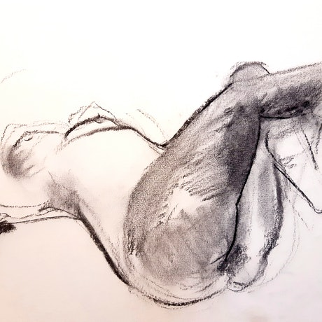 (CreativeWork) Charcoal nude by Tessa Pithouse. Drawing. Shop online at Bluethumb.