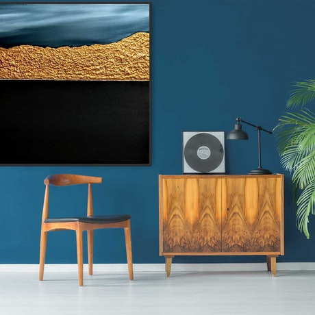 (CreativeWork) Moongold - Framed abstract seascape by Josephine Ann Pitsiava. Mixed Media. Shop online at Bluethumb.