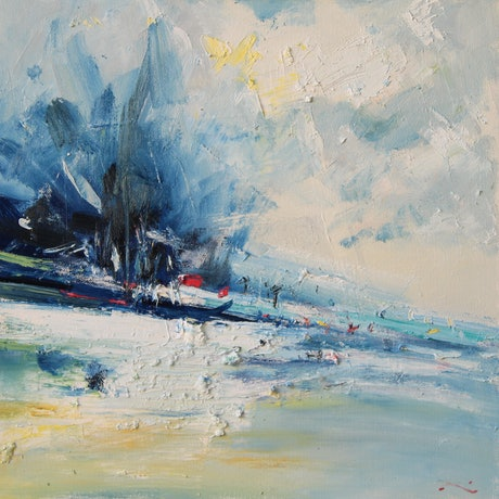 (CreativeWork) Winter Surf by Li Zhou. Oil Paint. Shop online at Bluethumb.