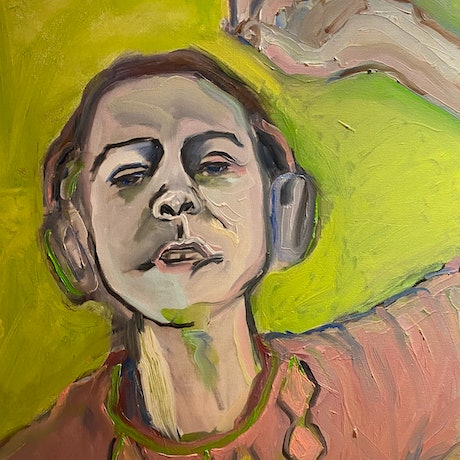 (CreativeWork) Self Portrait (silent disco) by Rachel Grove. Oil Paint. Shop online at Bluethumb.