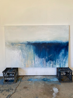 (CreativeWork) Horizons Series Soft Blue by Kathleen Rhee. Acrylic Paint. Shop online at Bluethumb.