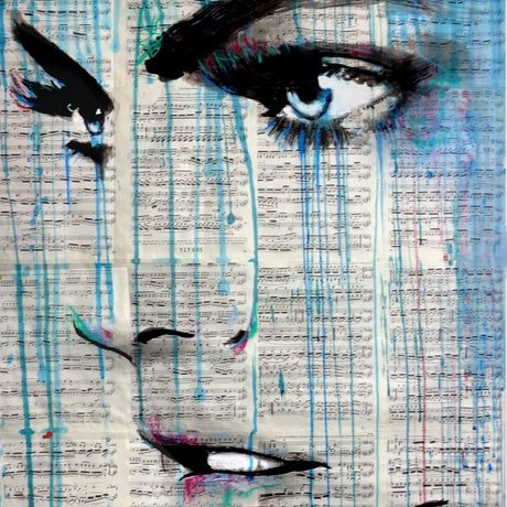 (CreativeWork) HER BLUE NOTES by loui jover. Mixed Media. Shop online at Bluethumb.