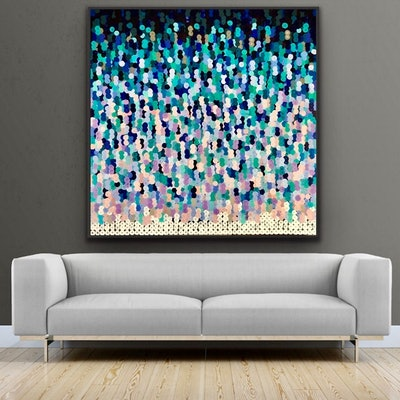 (CreativeWork) Quadrato multicolore  150x150 framed large textured abstract by Sophie Lawrence. Acrylic Paint. Shop online at Bluethumb.