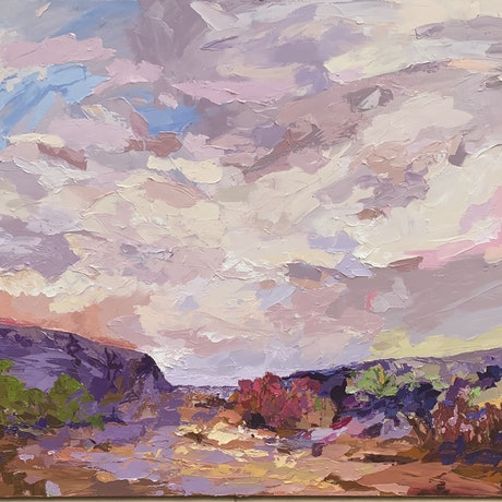 (CreativeWork) Discovering Paradise - Palette Knife Textured Painting by Chris mercer. Oil Paint. Shop online at Bluethumb.