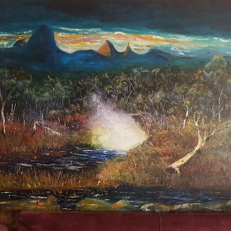 (CreativeWork) Storm over glasses house by maurice lempire. Oil Paint. Shop online at Bluethumb.