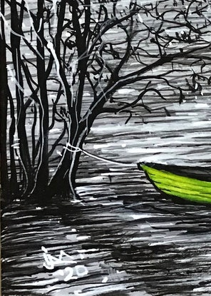 (CreativeWork) Little Green Boat by Jenny Mounfield. Acrylic Paint. Shop online at Bluethumb.