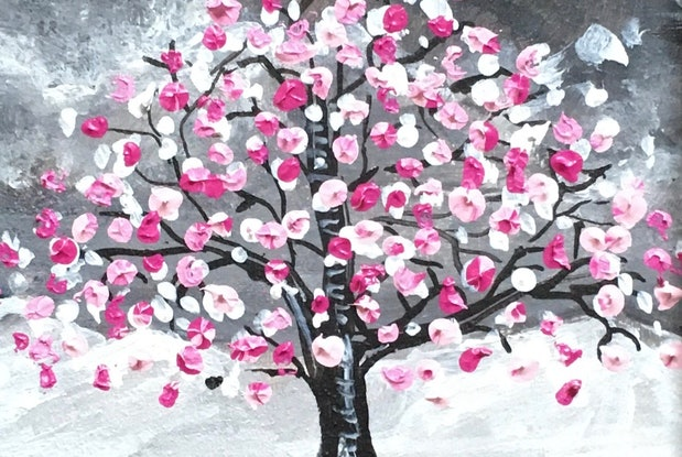 (CreativeWork) The Marshmallow Tree by Jenny Mounfield. Acrylic Paint. Shop online at Bluethumb.