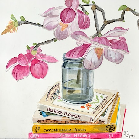 (CreativeWork) Judy's Magnolia & Books From Reefton by Dominika Keller. Watercolour Paint. Shop online at Bluethumb.