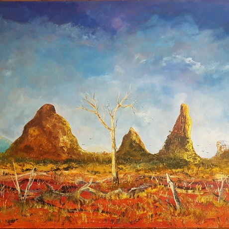 (CreativeWork) glasses house sunshine coast by maurice lempire. Oil Paint. Shop online at Bluethumb.