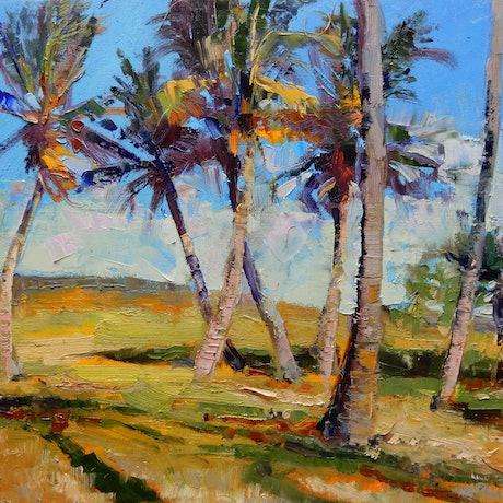 (CreativeWork) Wind in the Palms by Elena Churilova. Oil Paint. Shop online at Bluethumb.
