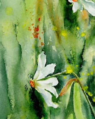 (CreativeWork) Jonquils meaning the new biginning after winter frost. Let's welcome the coming of spring! by Cecilia Xiao. Watercolour Paint. Shop online at Bluethumb.