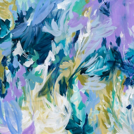 (CreativeWork) Blue Carnival by Amber Gittins. Acrylic Paint. Shop online at Bluethumb.