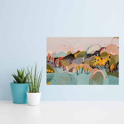 (CreativeWork) Abstract Landscape - Pink Hill by Susan Trudinger. Acrylic Paint. Shop online at Bluethumb.