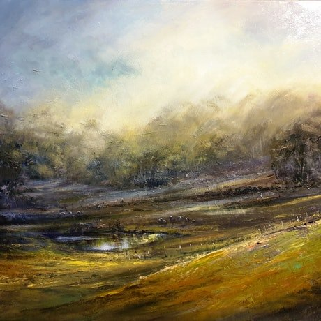 (CreativeWork) Valley Mist by Rachel Howell. Oil Paint. Shop online at Bluethumb.
