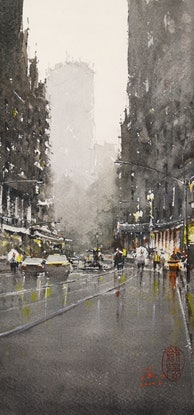 (CreativeWork) The City After The Rain by jianqiang xu. Watercolour Paint. Shop online at Bluethumb.
