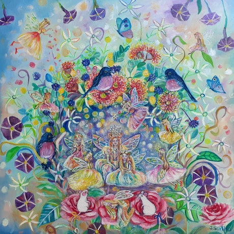 (CreativeWork) Fairies in my garden  by Joanne Scriha. Oil Paint. Shop online at Bluethumb.