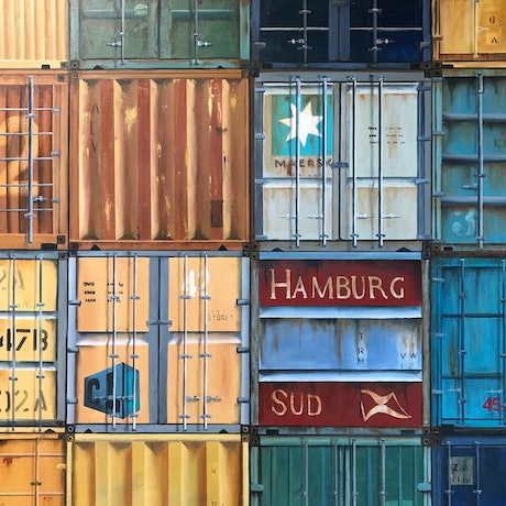 (CreativeWork) Shipping Containers by Dianne Fix. Oil Paint. Shop online at Bluethumb.