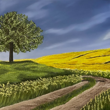(CreativeWork) Wildflower sunset by Lyn Martin. Oil Paint. Shop online at Bluethumb.