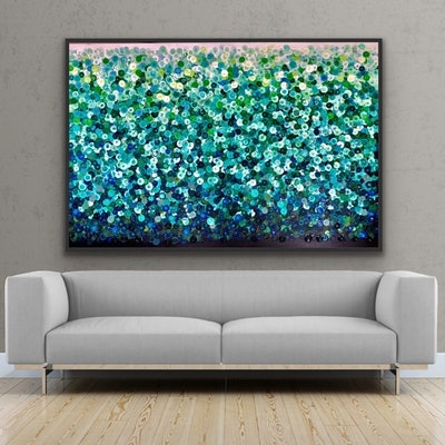 (CreativeWork) Little mint slice 153x102 framed large abstract  by Sophie Lawrence. Acrylic Paint. Shop online at Bluethumb.