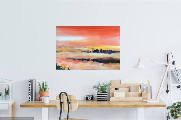 (CreativeWork) Mount Coot-Tha by Banx aka Mike Banks. Acrylic Paint. Shop online at Bluethumb.